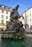 Olomouc, Czech Republic. Julius Caesar statue with fountain in the Old Town Square stock photo