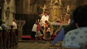 OLOMOUC, CZECH REPUBLIC, JULY 30, 2017: Catholic christian mass after harvest and liturgy worship, thanksgiving to God stock footage