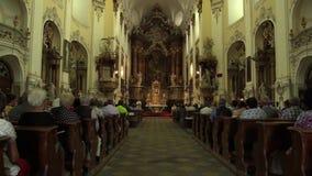 OLOMOUC, CZECH REPUBLIC, JULY 30, 2017: Catholic christian mass after harvest and liturgy worship, thanksgiving to God stock video