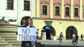 OLOMOUC, CZECH REPUBLIC, JUNE 15, 2017: Demonstration against terrorism and terror, banner no terrorism. Demonstration against terrorism and terror, banner no stock video footage