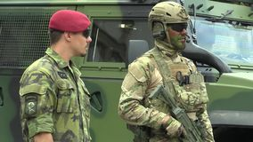 Olomouc, Czech Republic, June 29 , 2018: The elite army troop of the Czech Republic is armed, with a modern weapon with