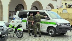 Olomouc, Czech Republic, June 29 , 2018: Military police and transport car and motorbike for road transport, soldier men stock video footage