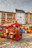 Olomouc, Czech Republic. Market in the main square of the old town of Olomouc, Czech Republic. HDR image Royalty Free Stock Images