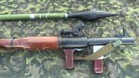 OLOMOUC, CZECH REPUBLIC, MAY 5, 2018: Armor RPG 7 is a lightweight hand-held anti-tank weapon designed for the stock footage