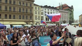 OLOMOUC CZECH REPUBLIC, MAY 9, 2018: Student parade procession of May, drums play, people rejoice flags and scream with. Student parade procession of May, drums stock footage