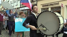 OLOMOUC CZECH REPUBLIC, MAY 9, 2018: Student parade procession of May, drums play, people rejoice flags and scream with. BRNO CZECH REPUBLIC, MAY 9, 2018 stock video