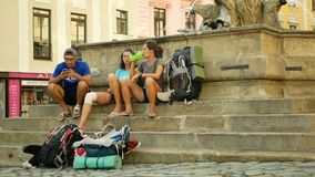 Olomouc, Czech Republic, May 25, 2019: Students traveling around the world, hiking and traveling young people with a stock video