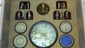 Olomouc, Czech Republic September 2018: old astronomical clock in the center of Olomouc.  stock footage