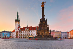 Olomouc, Czech Republic. Town hall and Holy Trinity Column in the main square of the old town of Olomouc, Czech Republic Royalty Free Stock Images