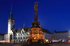 Olomouc landmarks. The view of historic upper square with landmarks Town hall and the holy trinity column in Olomouc, Czech Republic Royalty Free Stock Images
