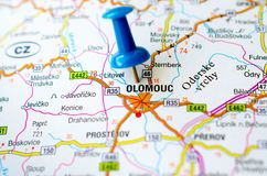 Olomouc on map. With push pin. Holomóc or Olomóc, Olmütz Stock Images