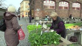 OLOMOUC, RÉPUBLIQUE TCHÈQUE, LE 30 MARS 2018 : Lancez la vente sur le marché de la laitue, de la salade verte, du chou-rave et de banque de vidéos