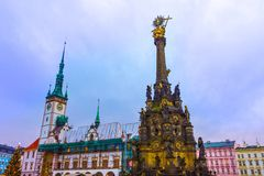 Olomouc, Repubblica di Cszech - 2 gennaio 2018: La scultura in Olomouc, Boemia, repubblica Ceca, Europa del modello della città immagini stock