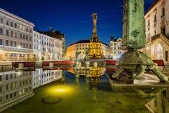 OLOMOUC, republika czech widok wierzchu kwadrat i Świętej trójcy kolumna, Zdjęcia Royalty Free