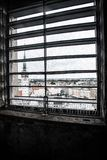 Olomouc seen through the window. Inside the main tower I could see this beautiful view of the church in Olomouc Stock Photography