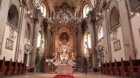 OLOMOUC, CZECH REPUBLIC, APRIL 15, 2018: Olomouc on the Svaty Kopecek church, altar and religion, Catholic christian stock footage