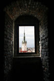 Olomouc town hall. View of town hall tower of Olomouc through a church window Royalty Free Stock Photos