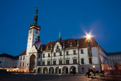 Olomouc town hall. On Upper square at night Stock Image