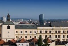 Olomouc urząd miasta - nowi hotele w backround Fotografia Royalty Free