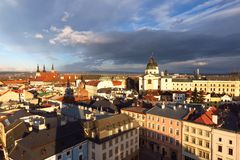 Olomouc, vista della città dell'orizzonte della repubblica Ceca da municipio Fotografie Stock Libere da Diritti