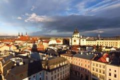 Olomouc, vue de ville d'horizon de République Tchèque de hôtel de ville Photos libres de droits