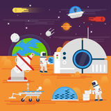 olonization di Marte Spazi il paesaggio, il girovago, l'astronauta, terra, royalty illustrazione gratis