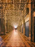 �olonnade on San Marco Square in Venice. Venice, Italy, View of the Arcades at piazza San Marco in Venice at Night. Long Exposure Stock Images
