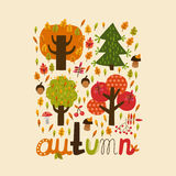 Сolor autumn illustration. Color autumn illustration for design Stock Images