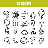 Olor, humo, sistema linear de los iconos del vector del olor libre illustration