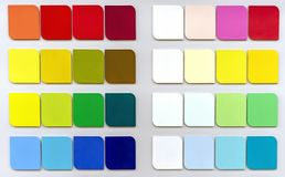 Сolor palette for choosing fabric or paint. Background from color swatches stock image