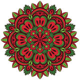 Сolor, vector mandala with floral pattern. On a white background. Element of folk ornament Stock Photos