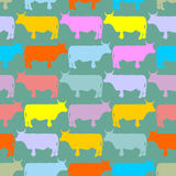 Сolored cows Herd. Seamless pattern ornament of animals on farm Royalty Free Stock Photos