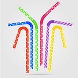 Сolored drinking straws and different patterns. Vector illustration with colored drinking straws and different patterns. Drinking straws with plastic texture Royalty Free Stock Photo