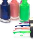 Сolored nail polish on white background Stock Photo