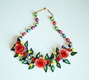 Сolored ornament for the neck with red flowers Stock Photos