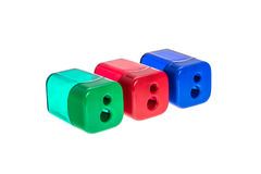 Сolored pencil sharpeners on white background Royalty Free Stock Photo