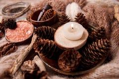 Olores de madera para el aromatherapy de invierno Conos del pino, velas, botellas de aceite esencial, visión superior El balneari imagen de archivo