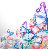 Сolorful background with watercolor butterflies and flowers Stock Images