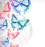 Сolorful background with watercolor butterflies and flowers Royalty Free Stock Photography