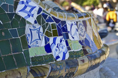 Olorful ceramic bench at Parc Guell designed by An Stock Photos