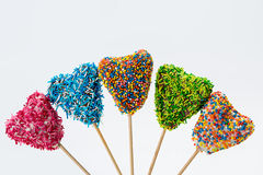 Сolorful delicious cakepops. On a white background Royalty Free Stock Photography