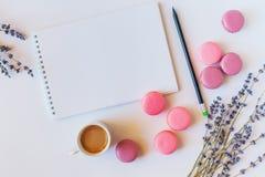 ? olorful französische macarons, Tasse Kaffee, sauberes Notizbuch und Blumen auf weißem Hintergrund Draufsicht, flache Art Stockbilder
