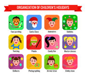 Сolorful icons with kids. Royalty Free Stock Photo