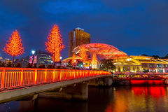 Olorful light building at night in Clarke Quay, Singapore Stock Images