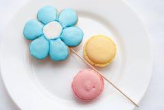 Olorful macaroon Ð ¡ με τα μπισκότα στη μορφή του λουλουδιού στο πιάτο Στοκ Εικόνα