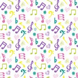 Olorful music-notes and hearts on white background. Seamless pattern with music black notes  background with colorful music-notes and hearts on white background Stock Photos
