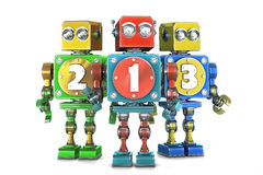 Ð¡olorful 123 numbers sign on retro robots. Isolated. Contains cl. Сolorful 123 numbers sign on retro robots. Isolated over white. Contains clipping path royalty free illustration