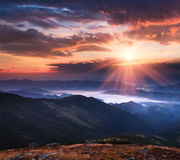 Сolorful panoramic sunrise in the mountains landscape Royalty Free Stock Photo