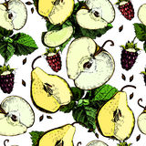 Сolorful pattern with apples, pears and berries. Stock Photography