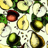 Сolorful pattern with apples and pears. Hand Royalty Free Stock Photo